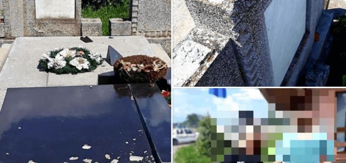 Foto:Un grup de tineri din Câmpia Turzii au deteriorat crucile de pe morminte