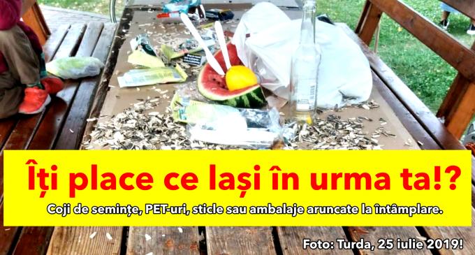 Lipsă de civilizație în Turda! Coji de semințe, PET-uri, sticle sau ambalaje aruncate la întâmplare
