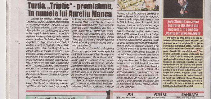 """Spectacolele productii proprii ale Teatrului """"Aureliu Manea"""" din Turda se bucură de succes si notorietate"""