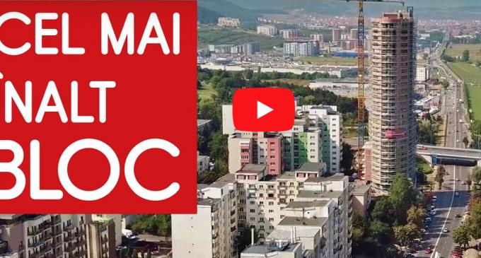 VIDEO: Imagini spectaculoase cu cel mai înalt bloc din România, ridicat la Cluj
