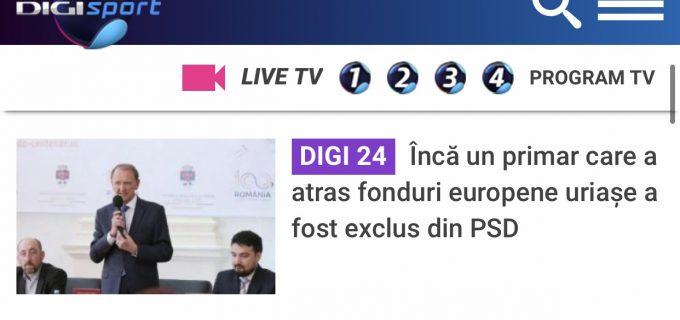 Digi24: Inca un primar care a atras fonduri europene uriase a fost exclus din PSD