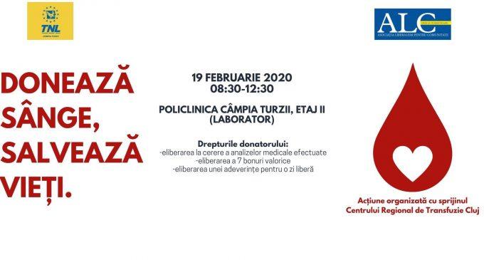 """TNL Campia Turzii organizeaza o noua campanie """"Donează sânge. Salvează vieţi"""""""