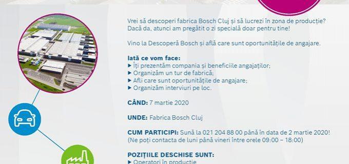 Bosch Cluj: zi de recrutare cu turul fabricii și interviuri de angajare pe loc