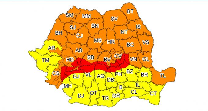 Judetul Cluj este sub cod portocaliu de vreme severa până la ora 18:00