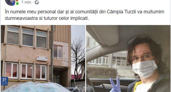 Dorin Lojigan mulțumește Asociației VeDemJust care a donat viziere gratuite la Spitalul Municipal și la Serviciul Ambulanță Câmpia Turzii