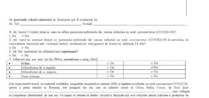 Modelul declarației care trebuie completat la intrarea în România!