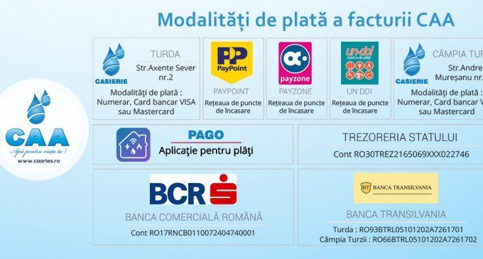 Informare – Facturile CAA se pot plăti acum și prin intermediul aplicației PAGO