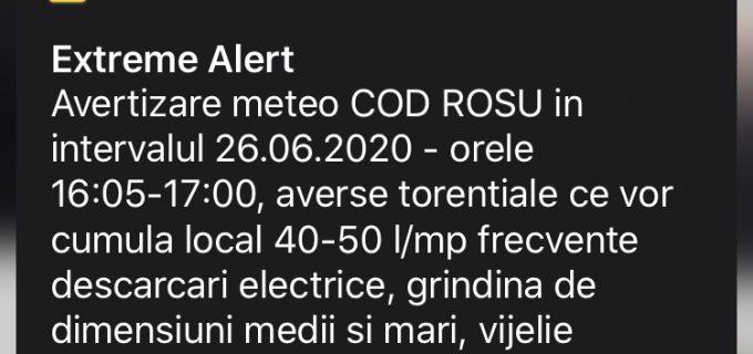 COD ROȘU de averse torentiale si descarcari electrice in Turda si Campia Turzii