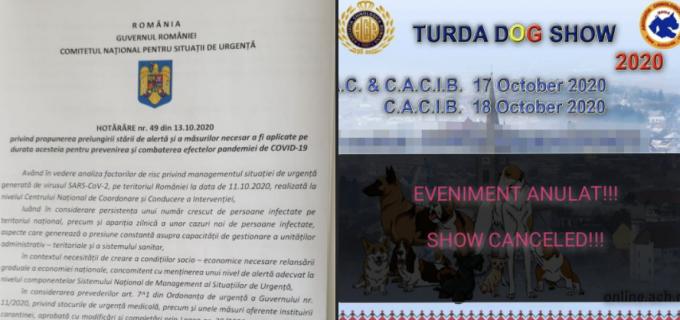 Evenimentul TURDA DOG SHOW, anulat datorită măsurilor privind combaterea COVID-19