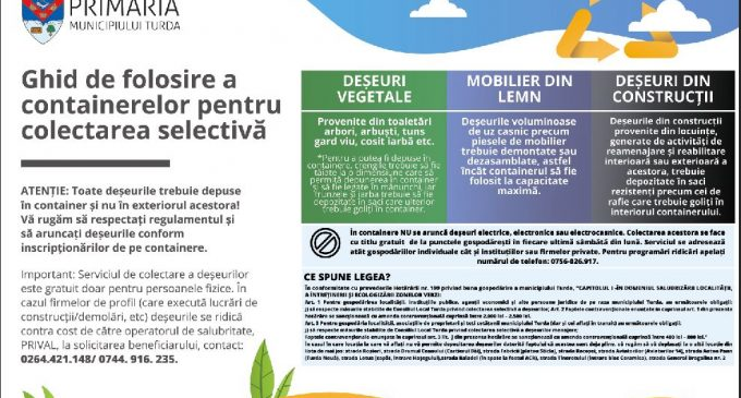 Primăria Turda: Ghid de folosire a containerelor pentru colectarea selectivă