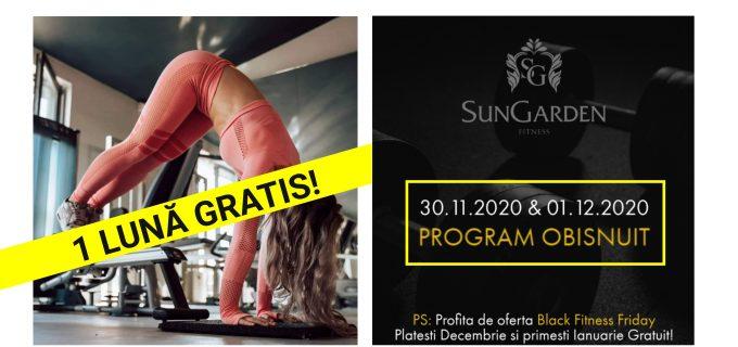 La SunGarden FITNESS te poți antrena și în zilele de 30 noiembrie și 1 decembrie. #HaiLaSală