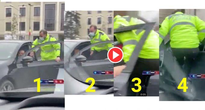 Imaginile zilei vin de la Cluj! Șoferul refuză să prezinte documentele și pleacă de pe loc