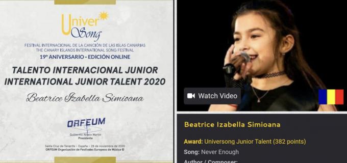 Beatrice Simioana, premiată în finala Festivalului UNIVERSONG – Tenerife, Spania