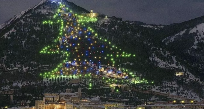 Cel mai mare brad de Crăciun din lume a fost aprins. Se află în Europa și are 130 mii de metri patrați