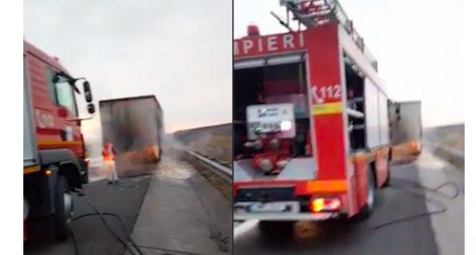 ISU: Incendiu la un autotren pe autostrada A3, km 18, sens Gilău-Turda