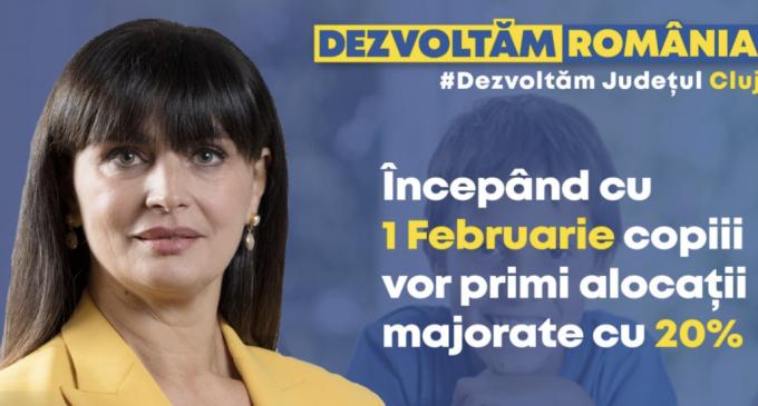 Cristina Burciu: Începând de la 1 februarie alocațiile pentru copii vor fi mărite cu 20%