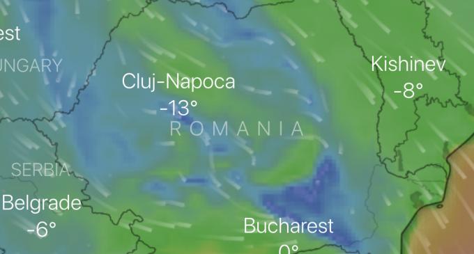Atenționare meteorologică: Răcire accentuată, intensificări ale vântului, ninsori viscolite, polei.
