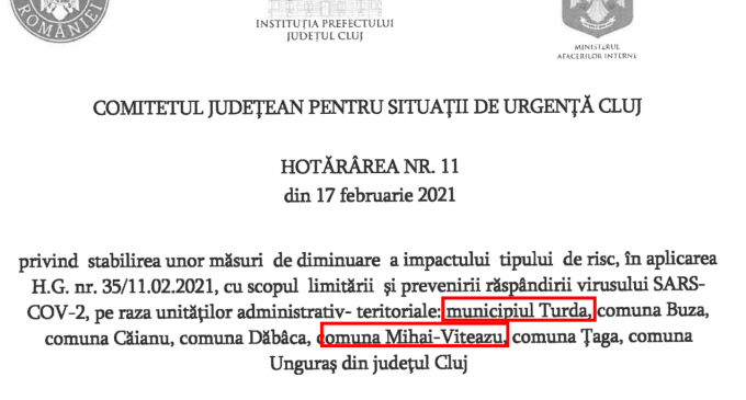 Document! Hotărâre CJSU privind stabilirea unor noi măsuri aplicabile la Turda și Mihai-Viteazu #COVID-19