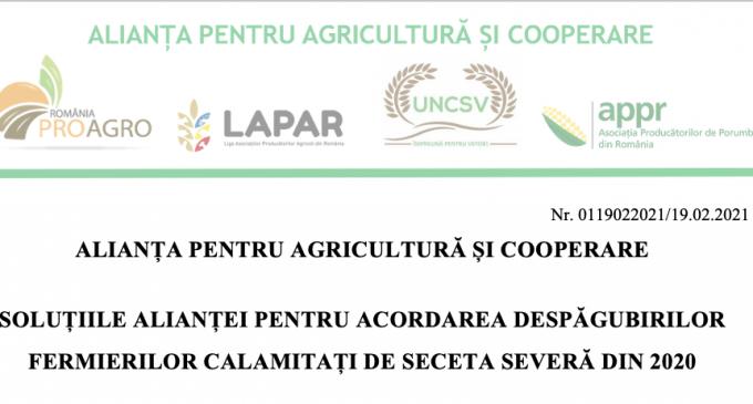 Solutii Alianta pentru Agricultura si Cooperare pentru acordarea despagubirilor fermierilor calamitati de seceta severa