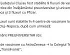 La nivelul județului Cluj au fost stabilite 9 fluxuri de vaccinare pentru cadrele didactice din învățământul preuniversitar şi universitar