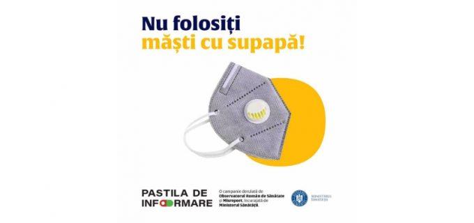 Ministerul Sănătății: Măștile cu supapă nu sunt recomandate pentru a fi utilizate în contextul pandemiei de coronavirus