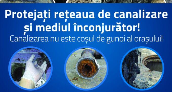 CAA: Protejați rețeaua de canalizare și mediul înconjurator! Canalizarea nu este coșul de gunoi al orașului!