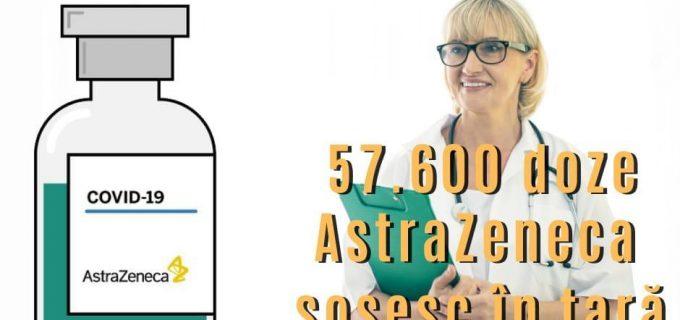 57.600 doze de vaccin AstraZeneca sosesc în țară