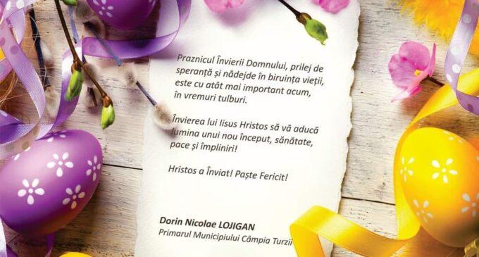 Primarul Dorin Lojigan: Învierea lui Iisus Hristos să vă aducă lumina unui nou început, sănătate, pace și împliniri!
