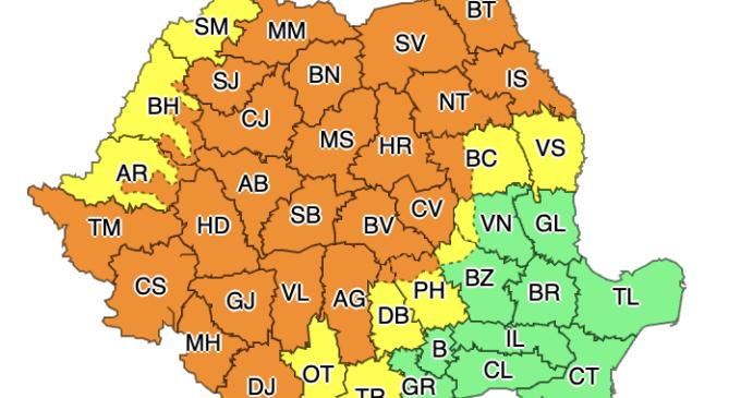 COD Portocaliu în județul Cluj! Fenomene vizate: instabilitate atmosferică accentuată, ploi abundente
