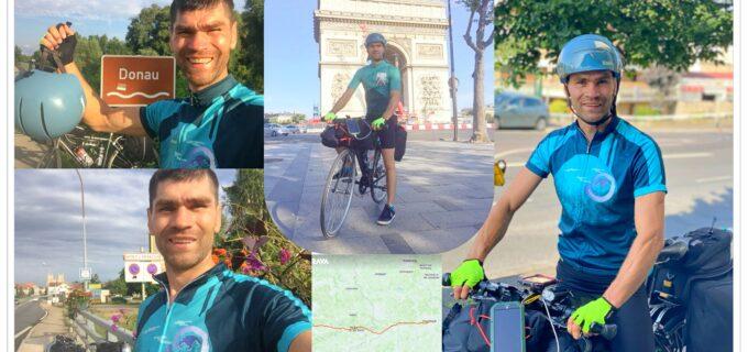 Gest extraodinar! Un turdean pedalează de la Paris până în Turda pentru o cauză socială