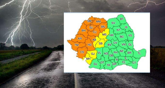 Atenție! COD PORTOCALIU – Vijelii puternice, intensificări ale vântului cu rafale, grindină și frecvente descărcări electrice