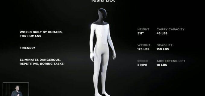 """Elon Musk prezintă Tesla Bot, un prototip de robot humanoid care să preia sarcinile """"periculoase, repetitive şi plictisitoare"""""""