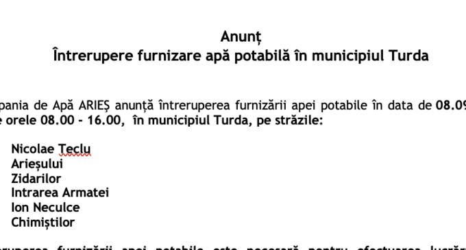 Întrerupere furnizare apă potabilă în municipiul Turda