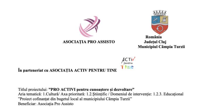 """LANSARE PROIECT """" """"PRO ACTIVi pentru cunoaștere și dezvoltare"""""""
