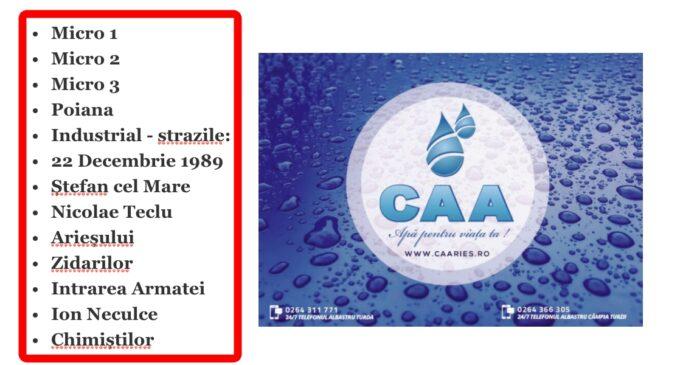 Atenție! CAA: Vă rugăm să vă faceți rezerve de apă din timp!  Întrerupere furnizare apă potabilă în municipiul Turda