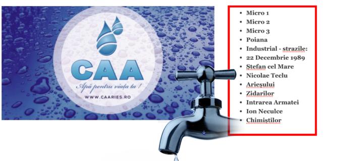 Întrerupere furnizare apă potabilă în municipiul Turdași localitatea Mihai Viteazu
