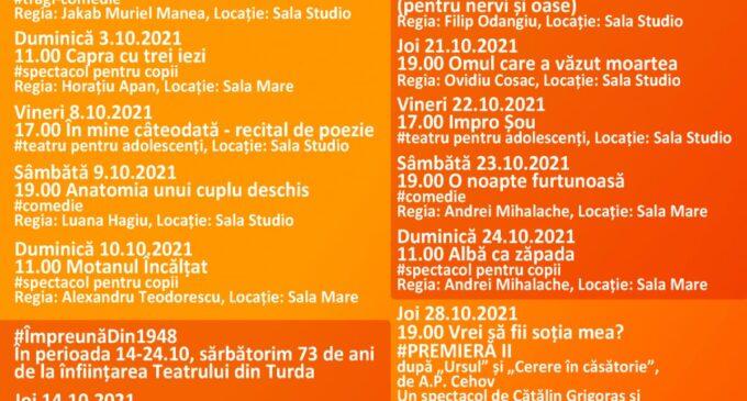 Luna octombrie este rezervată comediei la Teatrul Național Aureliu Manea Turda