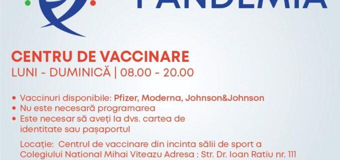Primăria Turda: Persoanele care doresc să se vaccineze pot face acest lucru fără programare, la centrul de vaccinare din incinta sălii de sport a Colegiului National Mihai Viteazu