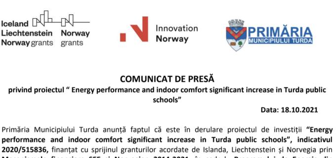"Comunicat de presa – "" Energy performance and indoor comfort significant increase in Turda public schools"""